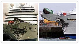 Cruise ship with a heavily damage nose